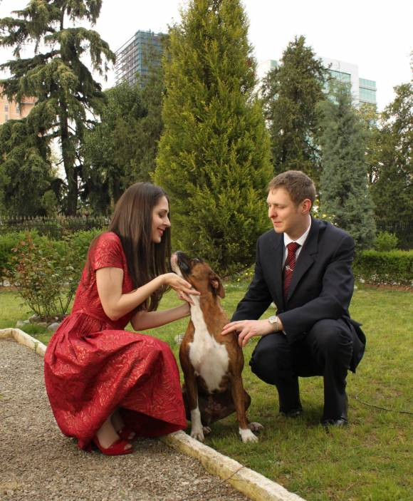 Prince Leka and his fiance Elia Zaharia with the family dog Shina in the Tirana Gardens.