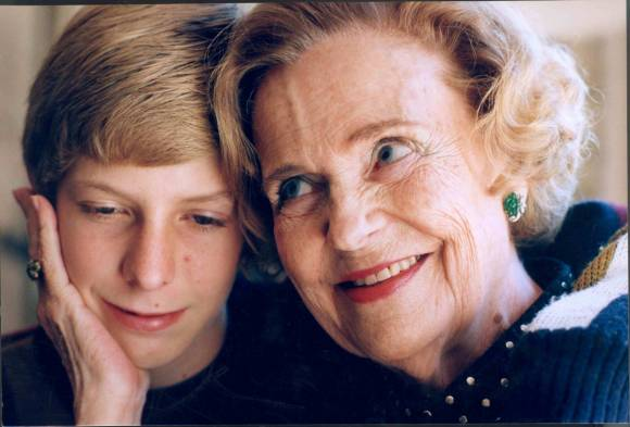 Queen Geraldine with her grandson, Prince Leka II