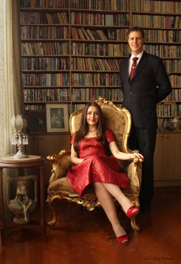 The Official engagement photo of Prince Leka and Elia Zaharia in the Royal Library.